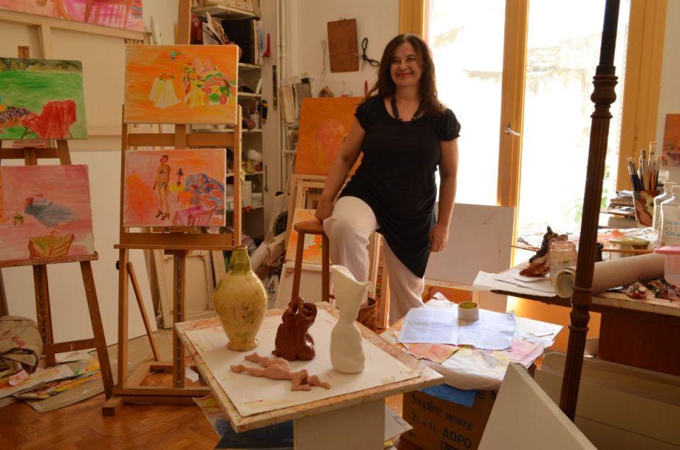 Stephanie Sampson in her Athens Studio 2 2018