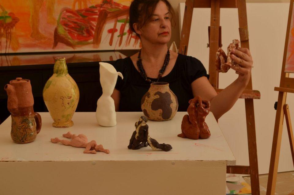 Stephanie Sampson in her Athens studio 2018